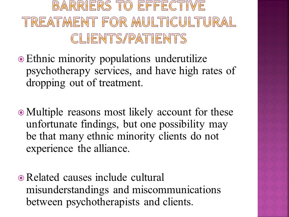  The ability of the practitioner to tune into the client/patient of color, with cultural sensitivity, cultural knowledge, and cultural empathy, as well as to provide cultural guidance when appropriate, are factors that promote the therapeutic alliance with clients/patients of color (Tseng & Streltzer, 2004; Vasquez, 2007a, 2007b).