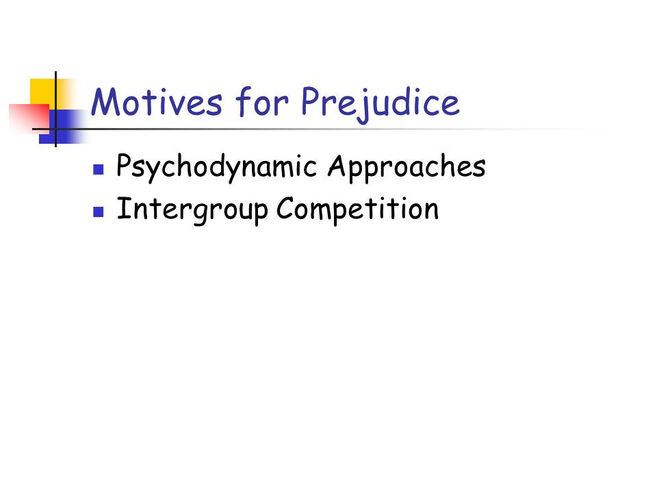 Motives for Prejudice Psychodynamic Approaches Intergroup Competition