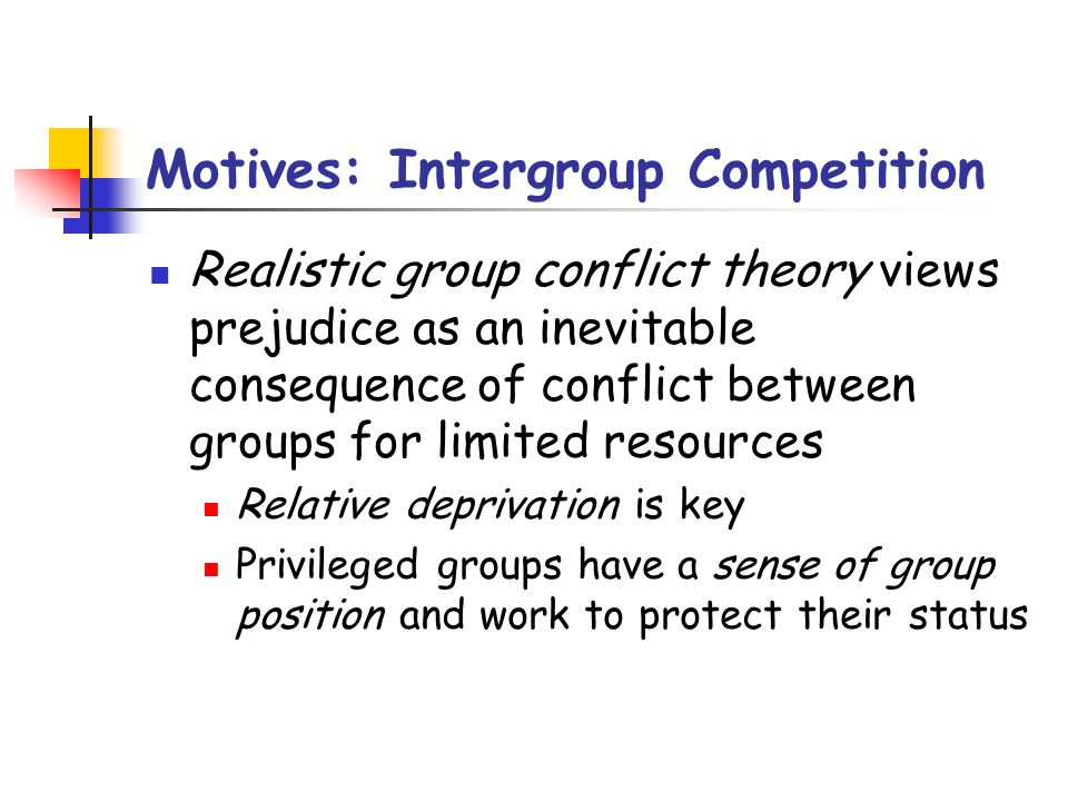 Motives: Intergroup Competition Realistic group conflict theory views prejudice as an inevitable consequence of conflict between groups for limited re