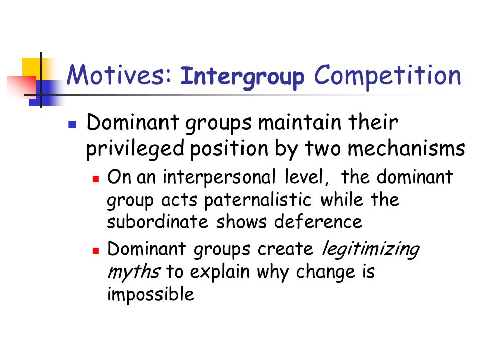 Motives: Intergroup Competition Dominant groups maintain their privileged position by two mechanisms On an interpersonal level, the dominant group acts paternalistic while the subordinate shows deference Dominant groups create legitimizing myths to explain why change is impossible