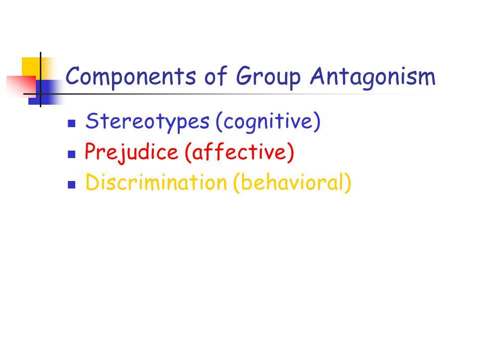 Components of Group Antagonism Stereotypes (cognitive) Prejudice (affective) Discrimination (behavioral)