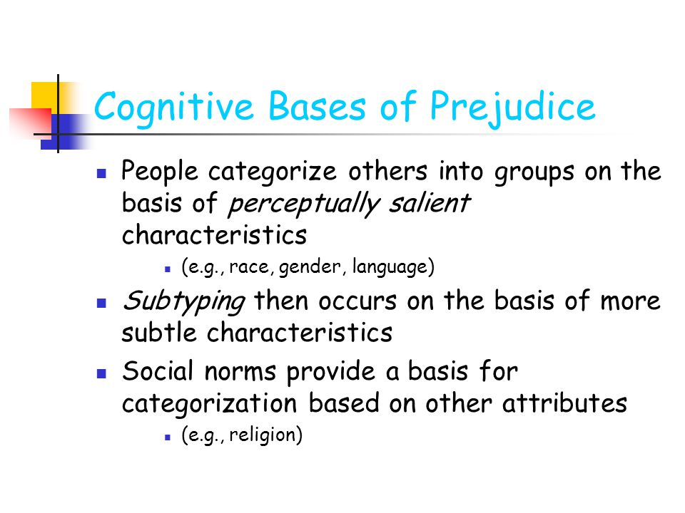Cognitive Bases of Prejudice People categorize others into groups on the basis of perceptually salient characteristics (e.g., race, gender, language) Subtyping then occurs on the basis of more subtle characteristics Social norms provide a basis for categorization based on other attributes (e.g., religion)