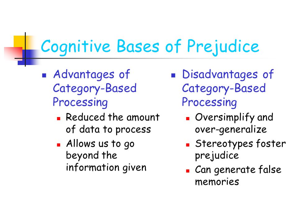 Cognitive Bases of Prejudice Advantages of Category-Based Processing Reduced the amount of data to process Allows us to go beyond the information given Disadvantages of Category-Based Processing Oversimplify and over-generalize Stereotypes foster prejudice Can generate false memories