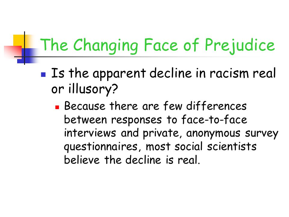 The Changing Face of Prejudice Is the apparent decline in racism real or illusory.