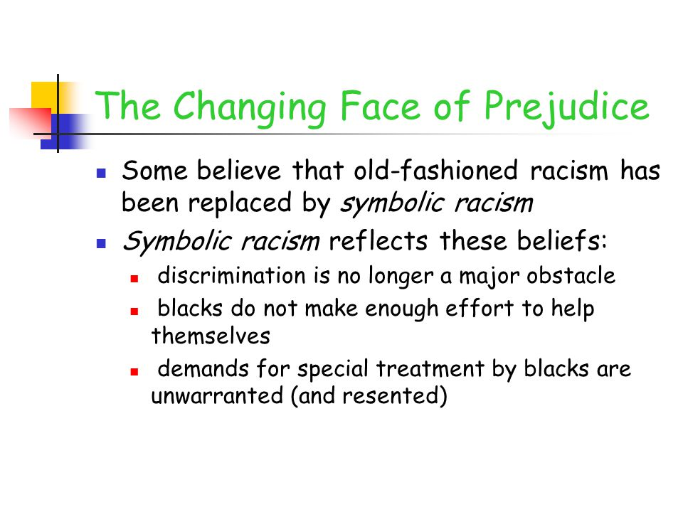 The Changing Face of Prejudice Some believe that old-fashioned racism has been replaced by symbolic racism Symbolic racism reflects these beliefs: dis