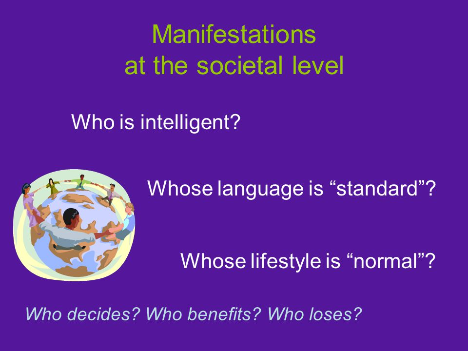 Manifestations at the societal level Who is intelligent.