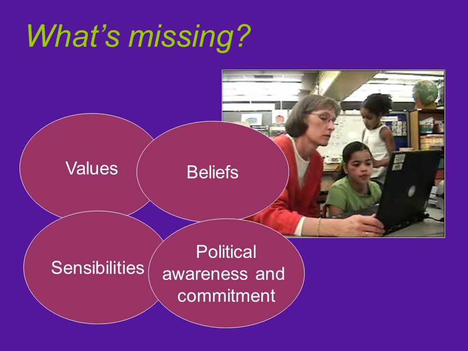 What's missing Values Beliefs Sensibilities Political awareness and commitment