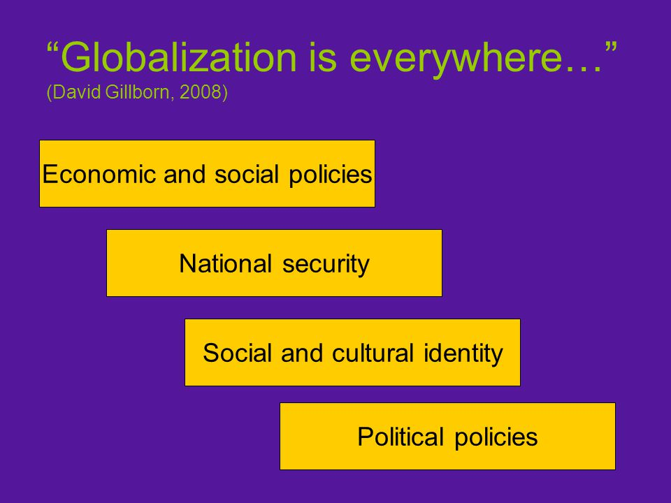 Globalization is everywhere… (David Gillborn, 2008) Economic and social policies National security Social and cultural identity Political policies