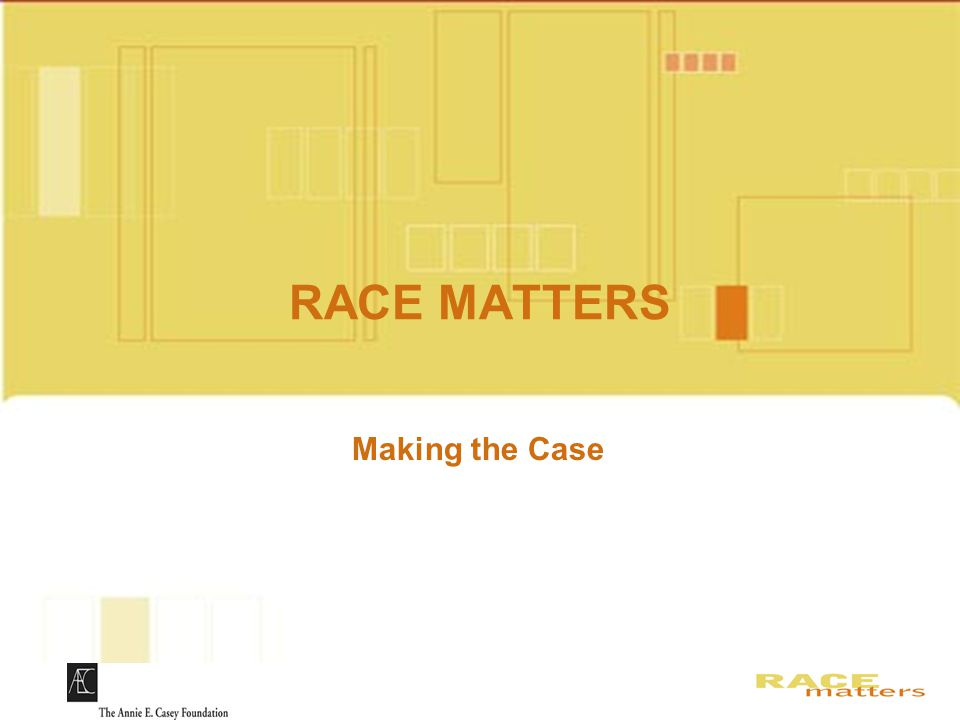RACE MATTERS Slides for DVD Making the Case