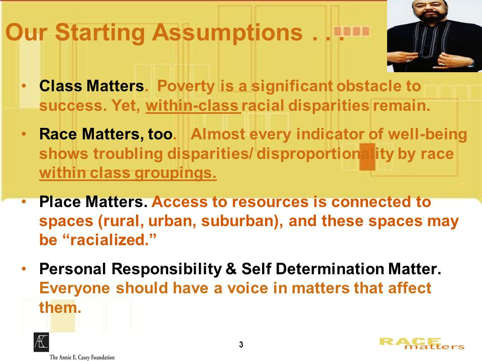 3 Our Starting Assumptions... Class Matters. Poverty is a significant obstacle to success.