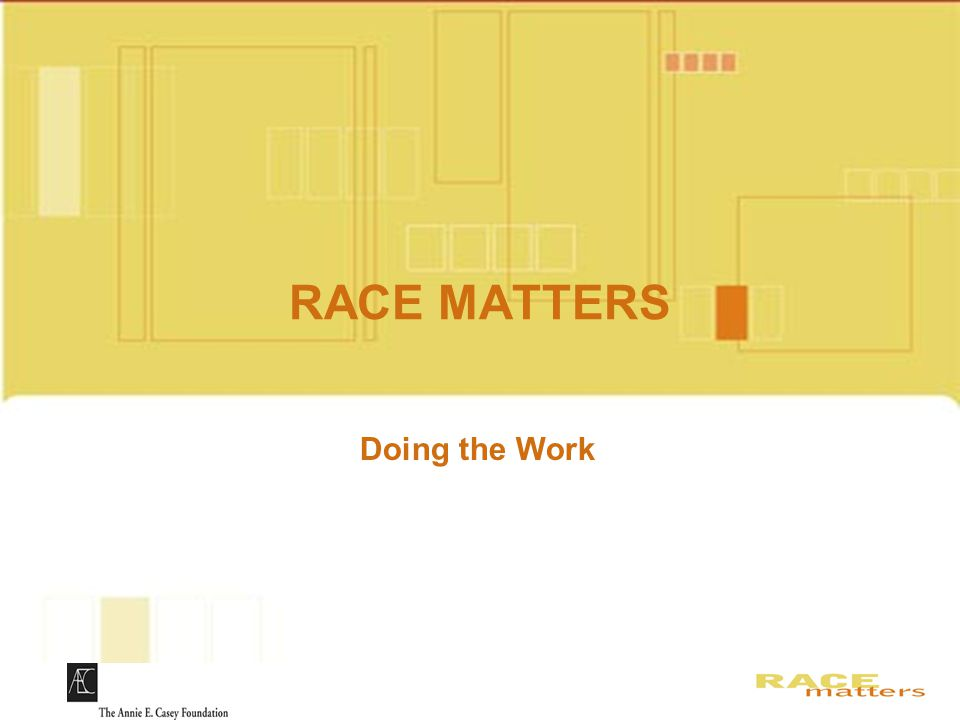 RACE MATTERS Slides for DVD Doing the Work