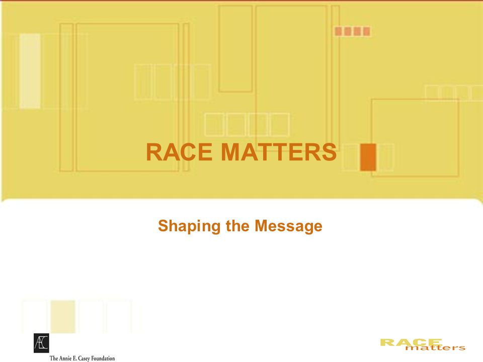 RACE MATTERS Slides for DVD Shaping the Message