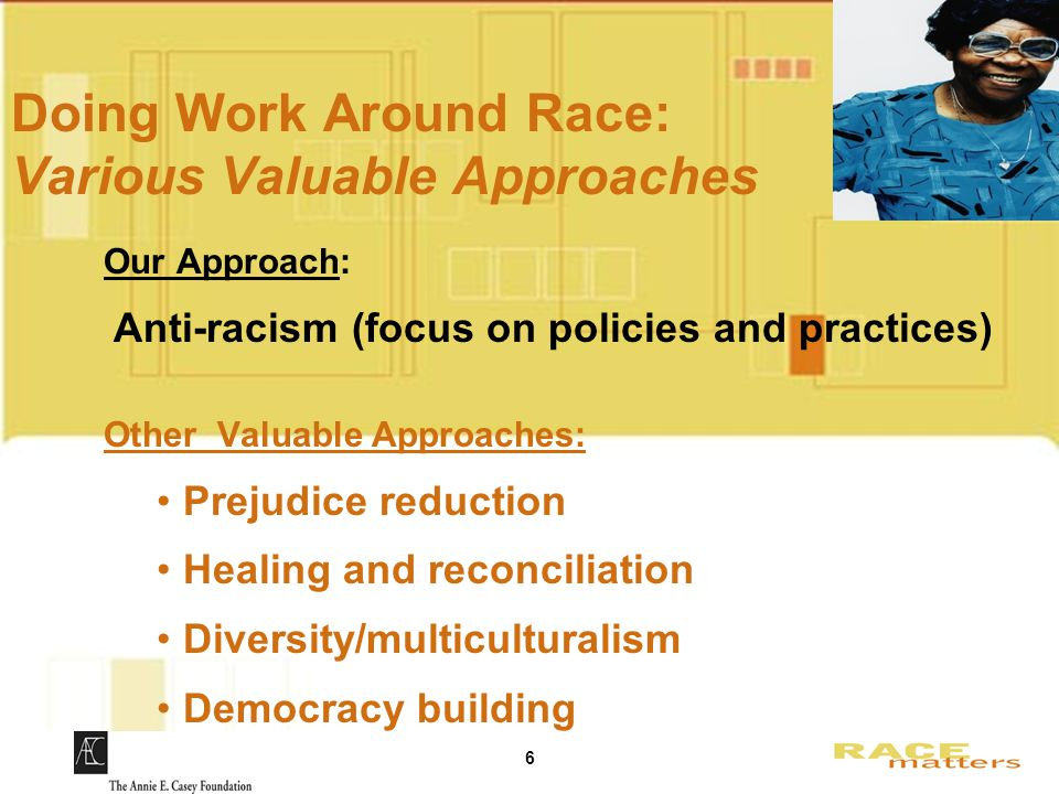 6 Doing Work Around Race: Various Valuable Approaches Our Approach: Anti-racism (focus on policies and practices) Other Valuable Approaches: Prejudice reduction Healing and reconciliation Diversity/multiculturalism Democracy building