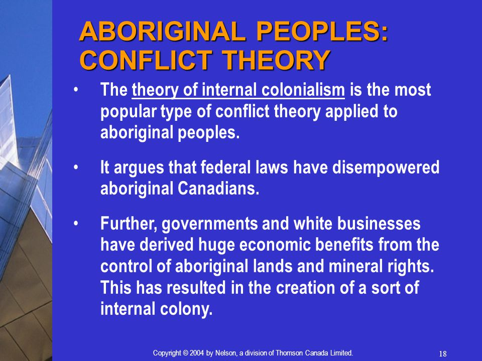 18 Copyright © 2004 by Nelson, a division of Thomson Canada Limited. The theory of internal colonialism is the most popular type of conflict theory ap