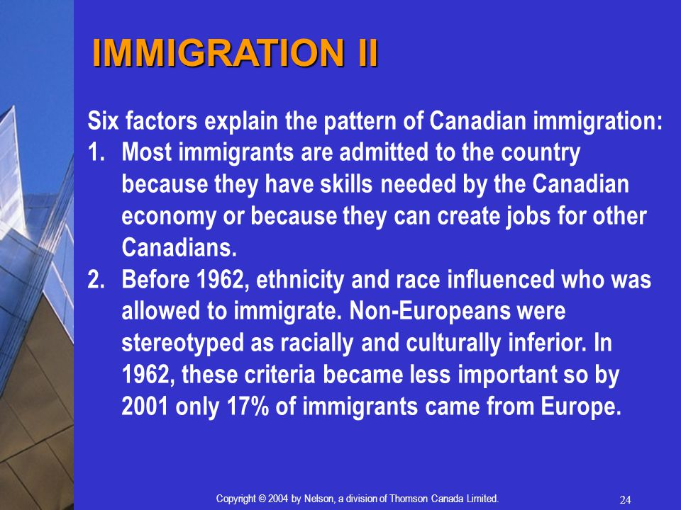 24 Copyright © 2004 by Nelson, a division of Thomson Canada Limited. Six factors explain the pattern of Canadian immigration: 1.Most immigrants are ad
