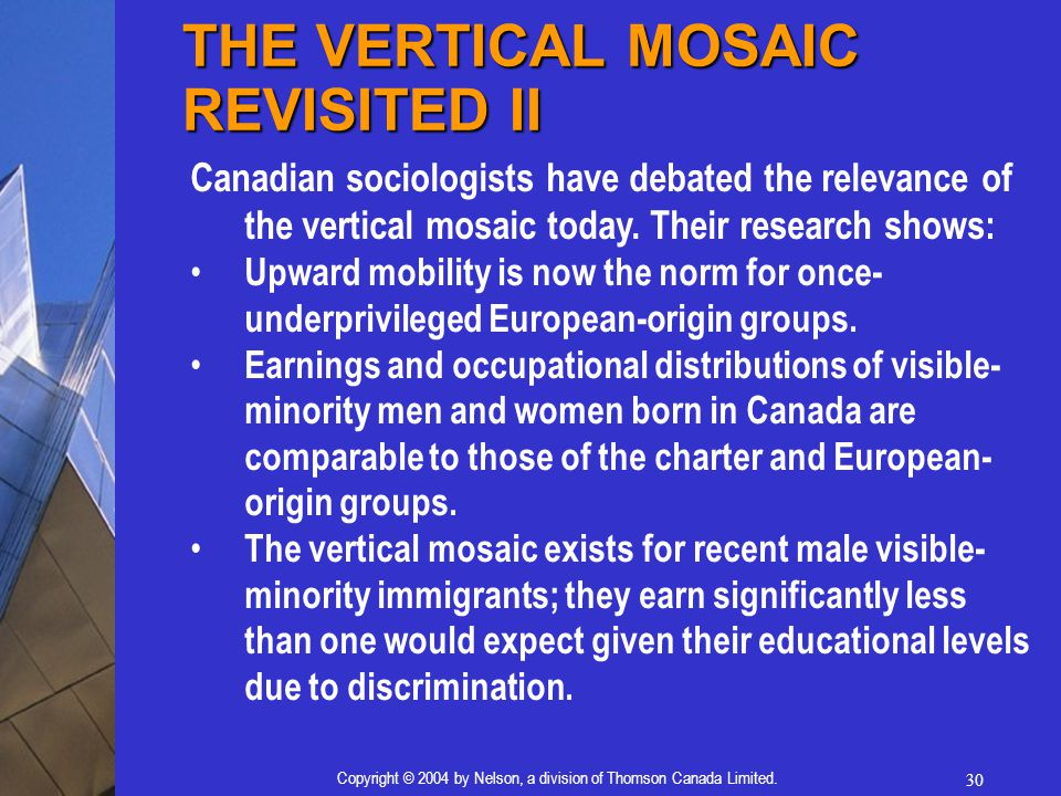 30 Copyright © 2004 by Nelson, a division of Thomson Canada Limited. Canadian sociologists have debated the relevance of the vertical mosaic today. Th