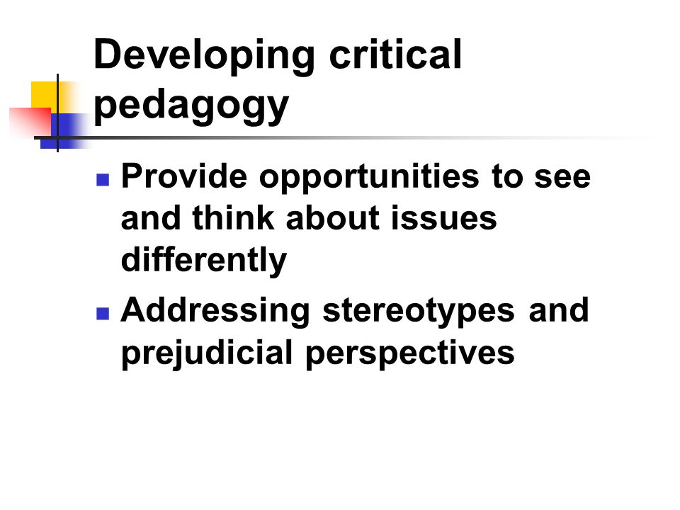 Developing critical pedagogy Provide opportunities to see and think about issues differently Addressing stereotypes and prejudicial perspectives