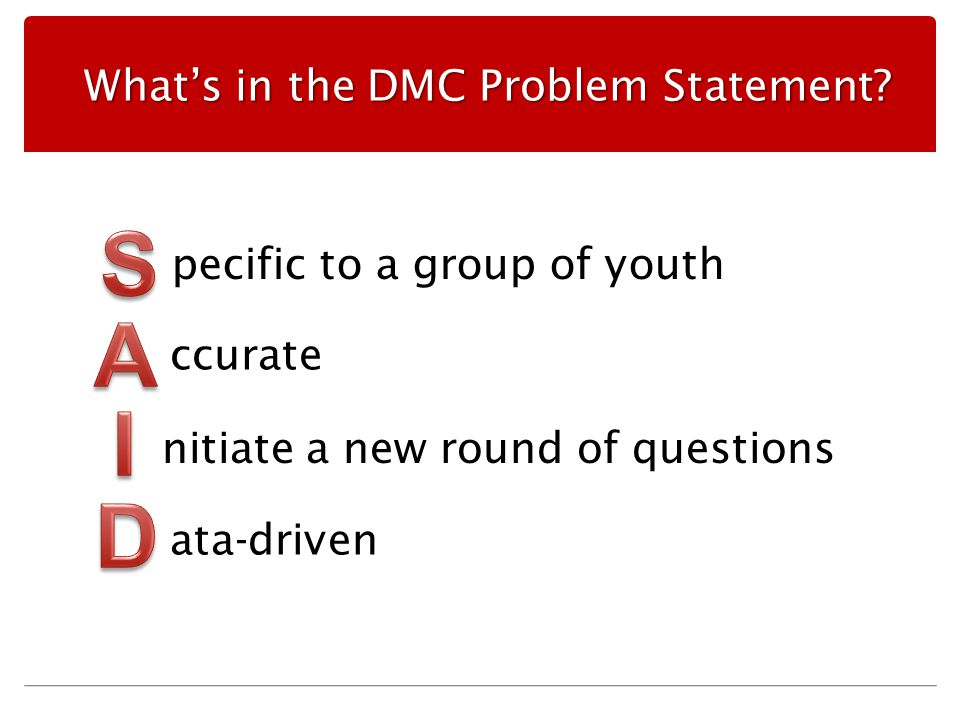 What's in the DMC Problem Statement.