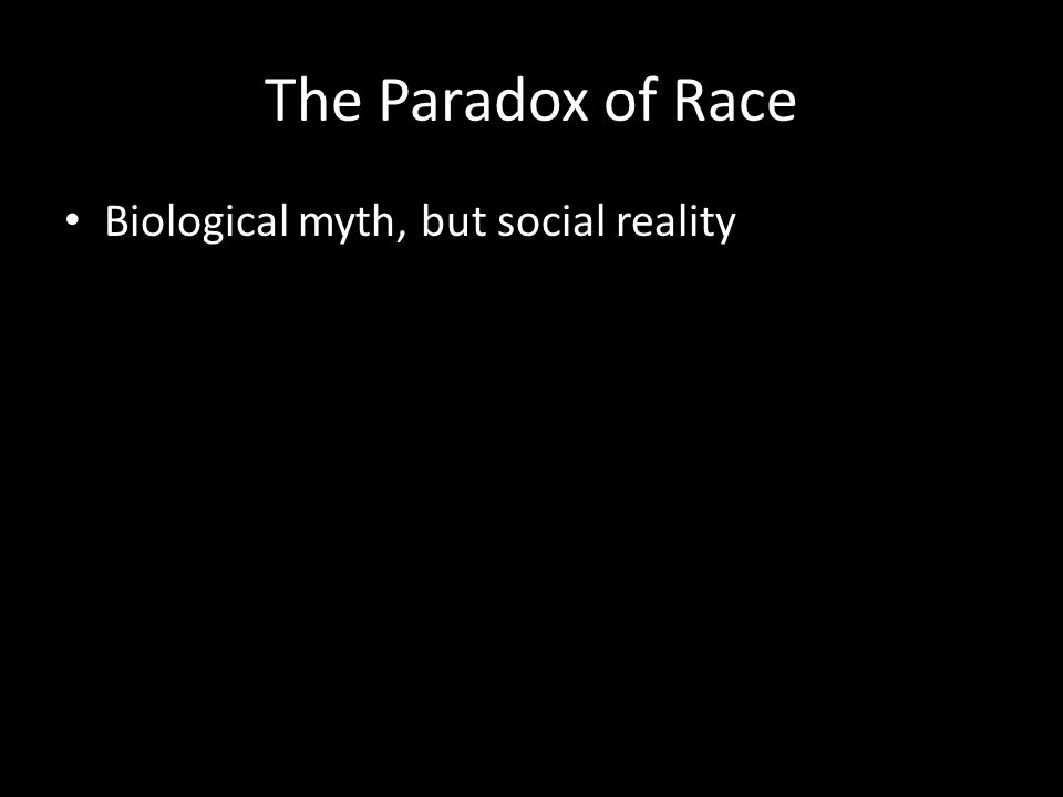 The Paradox of Race Biological myth, but social reality