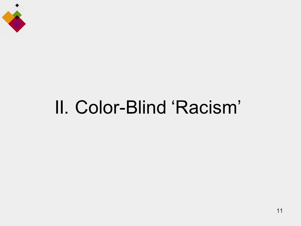 11 II. Color-Blind 'Racism'