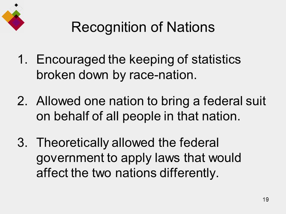 19 Recognition of Nations 1.Encouraged the keeping of statistics broken down by race-nation.