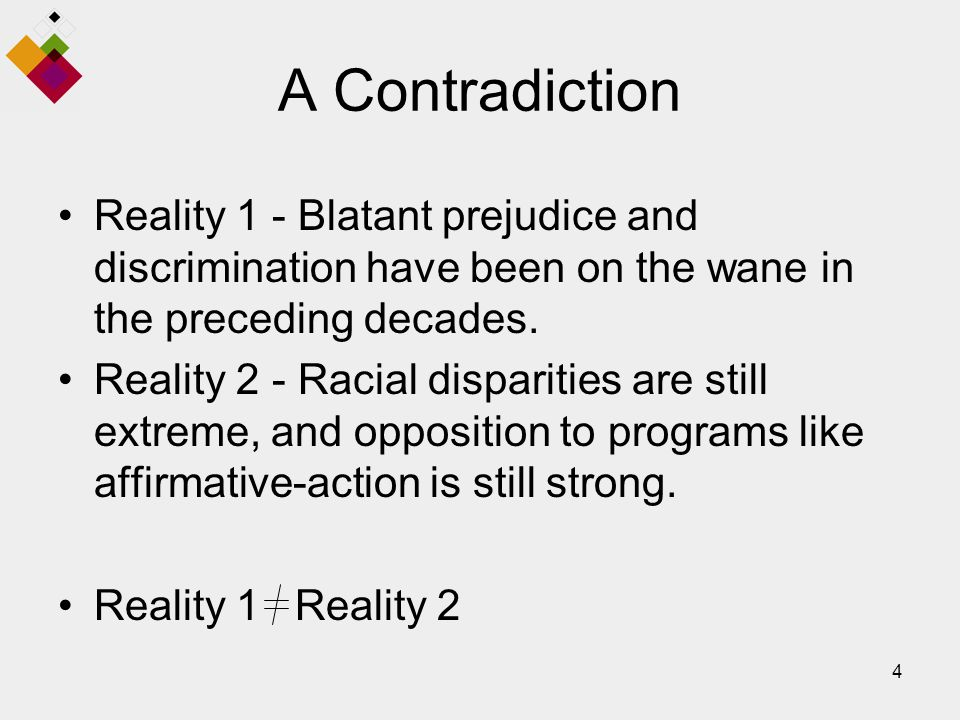 4 A Contradiction Reality 1 - Blatant prejudice and discrimination have been on the wane in the preceding decades.