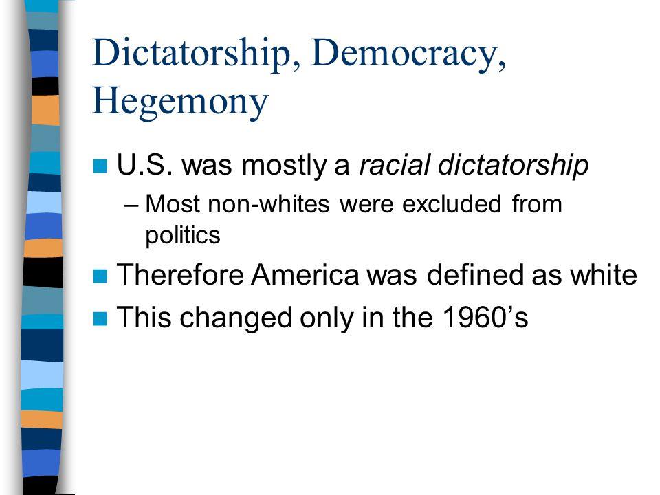 Dictatorship, Democracy, Hegemony U.S.