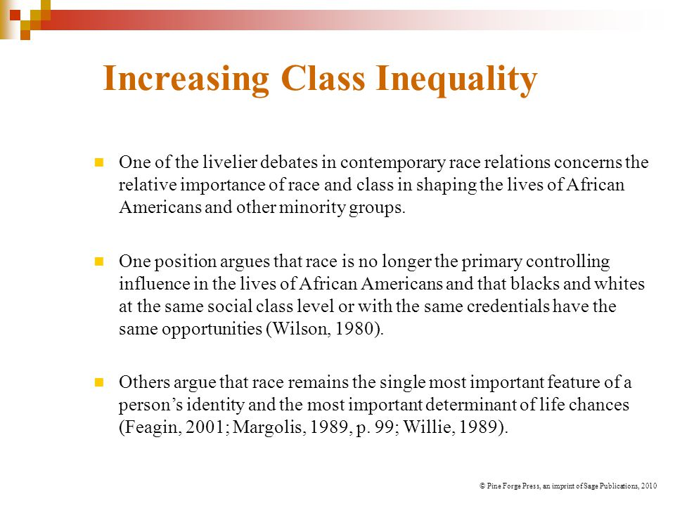 Increasing Class Inequality One of the livelier debates in contemporary race relations concerns the relative importance of race and class in shaping the lives of African Americans and other minority groups.