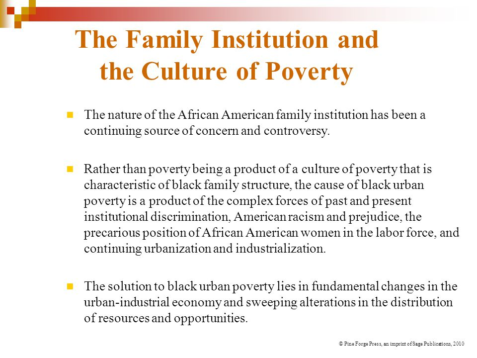 The Family Institution and the Culture of Poverty The nature of the African American family institution has been a continuing source of concern and controversy.