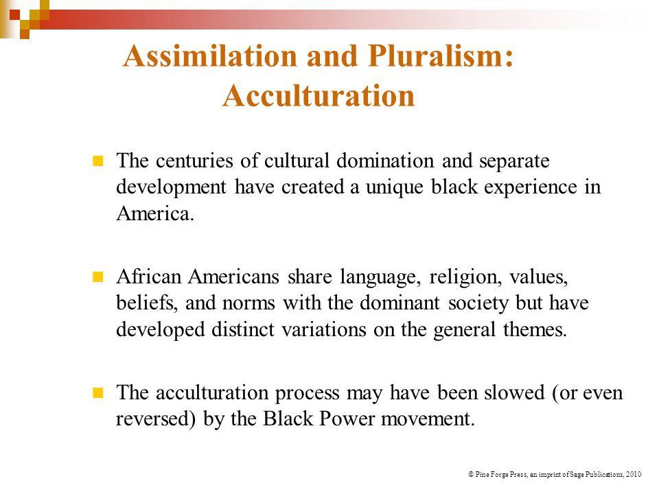 Assimilation and Pluralism: Acculturation The centuries of cultural domination and separate development have created a unique black experience in America.
