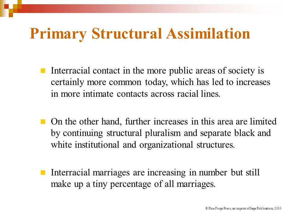 Primary Structural Assimilation Interracial contact in the more public areas of society is certainly more common today, which has led to increases in more intimate contacts across racial lines.