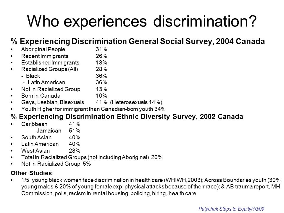 Who experiences discrimination.
