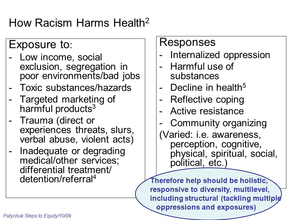 How Racism Harms Health 2 Exposure to : -Low income, social exclusion, segregation in poor environments/bad jobs -Toxic substances/hazards -Targeted marketing of harmful products 3 -Trauma (direct or experiences threats, slurs, verbal abuse, violent acts) -Inadequate or degrading medical/other services; differential treatment/ detention/referral 4 Responses -Internalized oppression -Harmful use of substances -Decline in health 5 -Reflective coping -Active resistance -Community organizing (Varied: i.e.