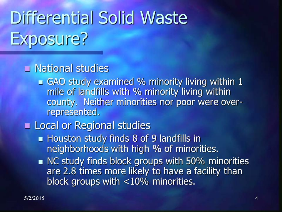 5/2/20155 Differential Exposure to Hazardous Waste Facilities (HWFs).