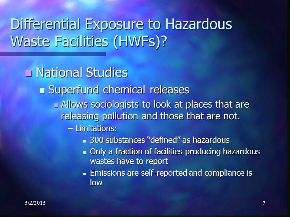 5/2/20158 Differential Exposure to Hazardous Waste Facilities (HWFs).