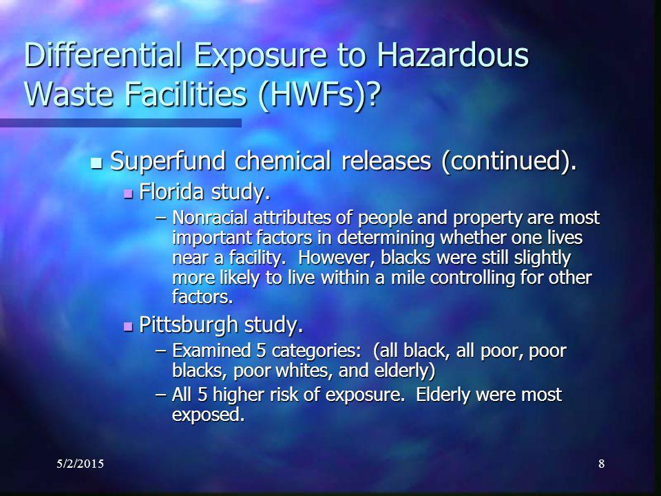 5/2/20159 Differential Exposure to Uncontrolled Hazardous Waste.