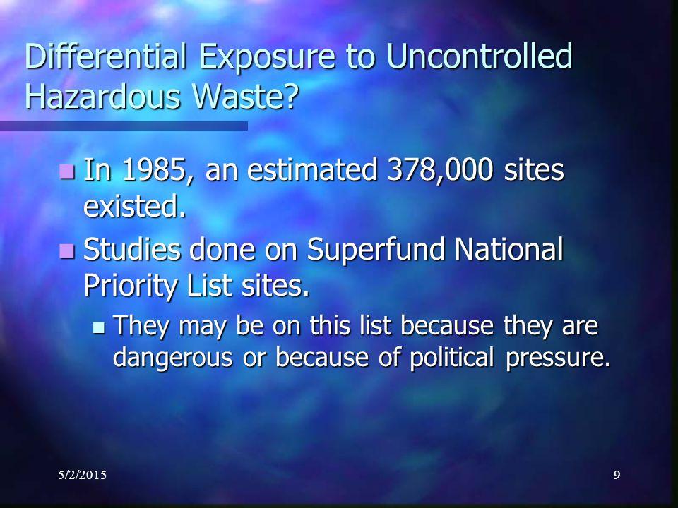 5/2/201510 Differential Exposure to Uncontrolled Hazardous Waste.