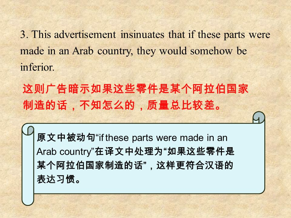 3. This advertisement insinuates that if these parts were made in an Arab country, they would somehow be inferior. 这则广告暗示如果这些零件是某个阿拉伯国家 制造的话,不知怎么的,质量总
