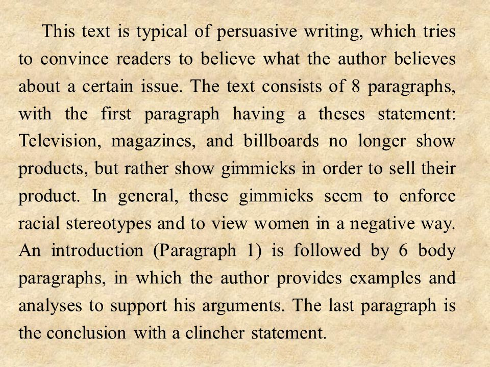 This text is typical of persuasive writing, which tries to convince readers to believe what the author believes about a certain issue. The text consis