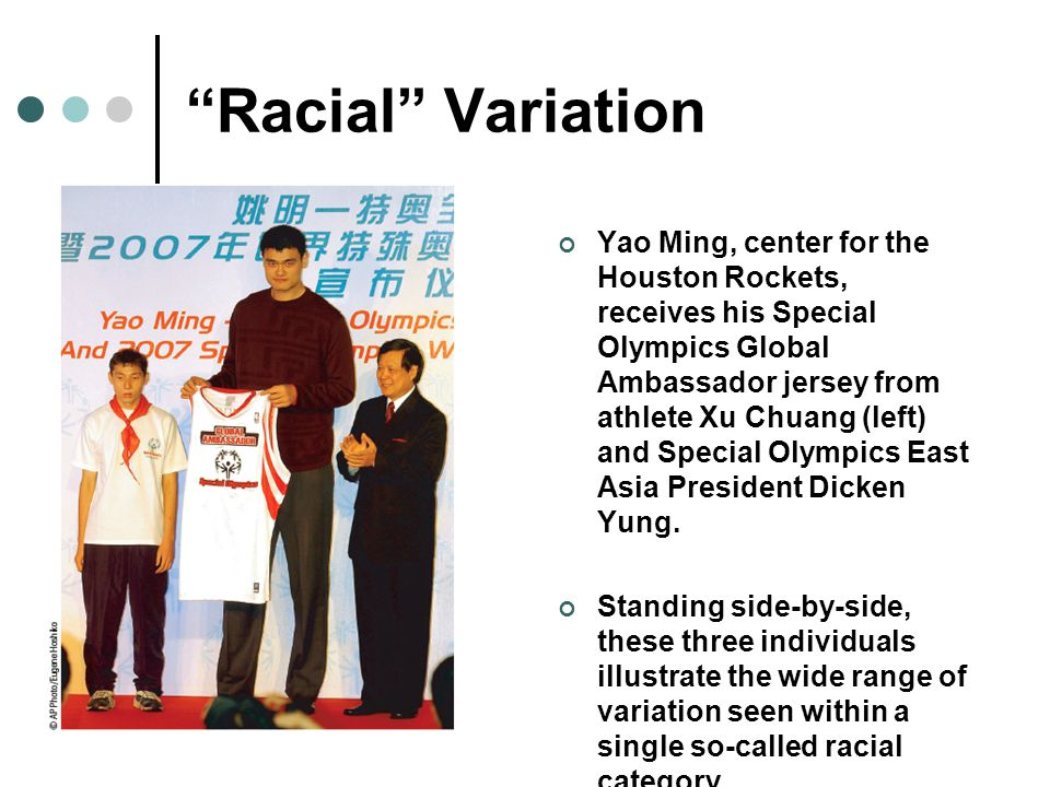 """""""Racial"""" Variation Yao Ming, center for the Houston Rockets, receives his Special Olympics Global Ambassador jersey from athlete Xu Chuang (left) and"""