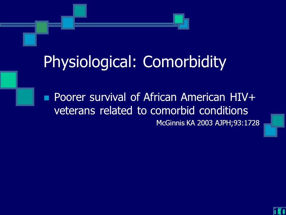 10 Physiological: Comorbidity Poorer survival of African American HIV+ veterans related to comorbid conditions McGinnis KA 2003 AJPH;93:1728