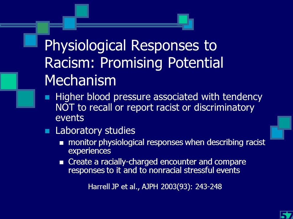 57 Physiological Responses to Racism: Promising Potential Mechanism Higher blood pressure associated with tendency NOT to recall or report racist or d