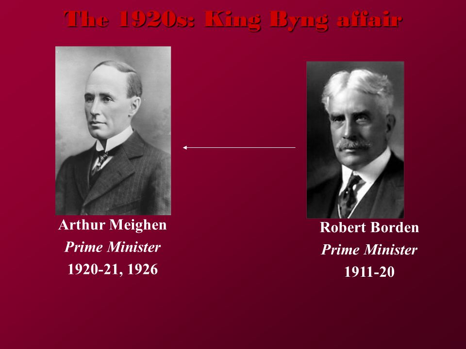 The 1920s: King Byng affair Arthur Meighen Prime Minister 1920-21, 1926 Robert Borden Prime Minister 1911-20