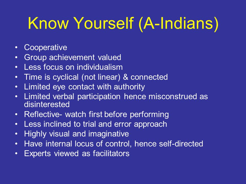 Know Yourself (Asian- Americans) Prefer formal relationship with authority Autonomous and conforming Obedient to authority Usually conservative & reserved Usually introverted –Considered Model Minority - Why?
