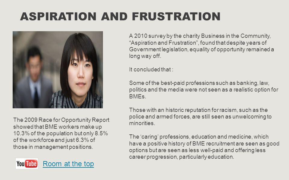 ASPIRATION AND FRUSTRATION A 2010 survey by the charity Business in the Community, Aspiration and Frustration , found that despite years of Government legislation, equality of opportunity remained a long way off.
