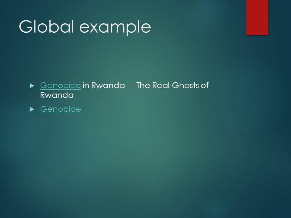 Global example  Genocide in Rwanda -- The Real Ghosts of Rwanda Genocide  Genocide Genocide