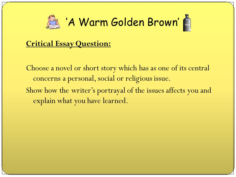 Critical Essay Question: Choose a novel or short story which has as one of its central concerns a personal, social or religious issue. Show how the wr