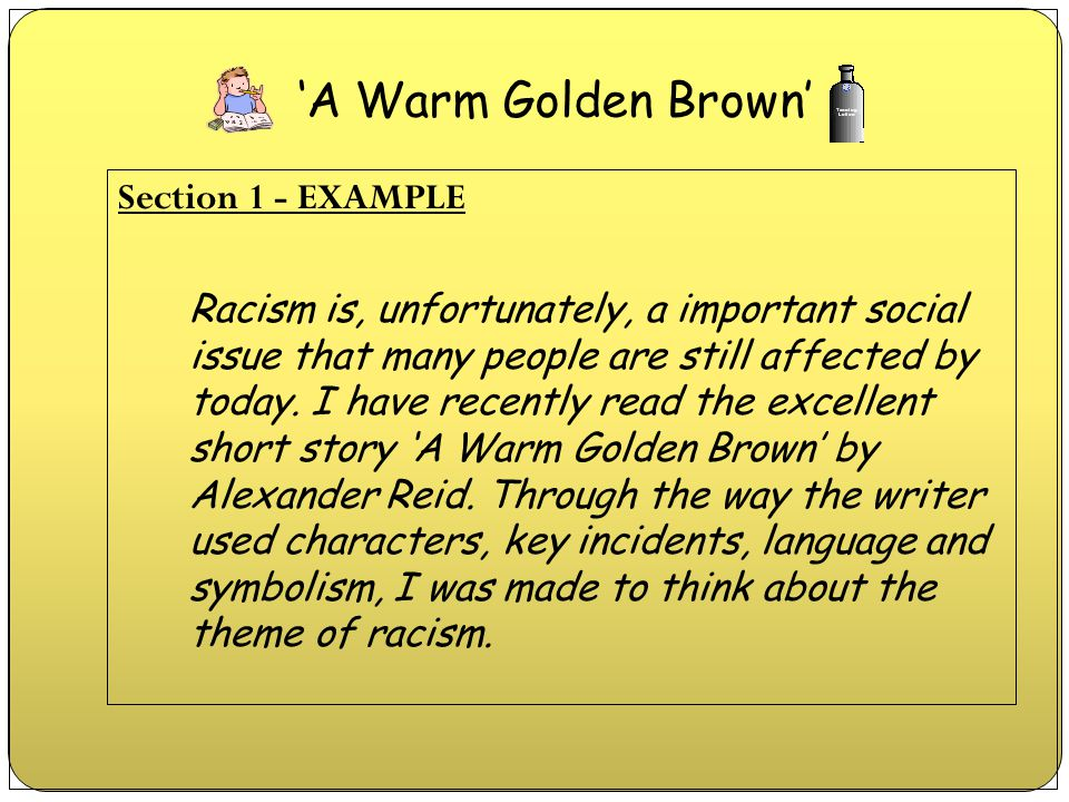 Section 1 - EXAMPLE Racism is, unfortunately, a important social issue that many people are still affected by today. I have recently read the excellen