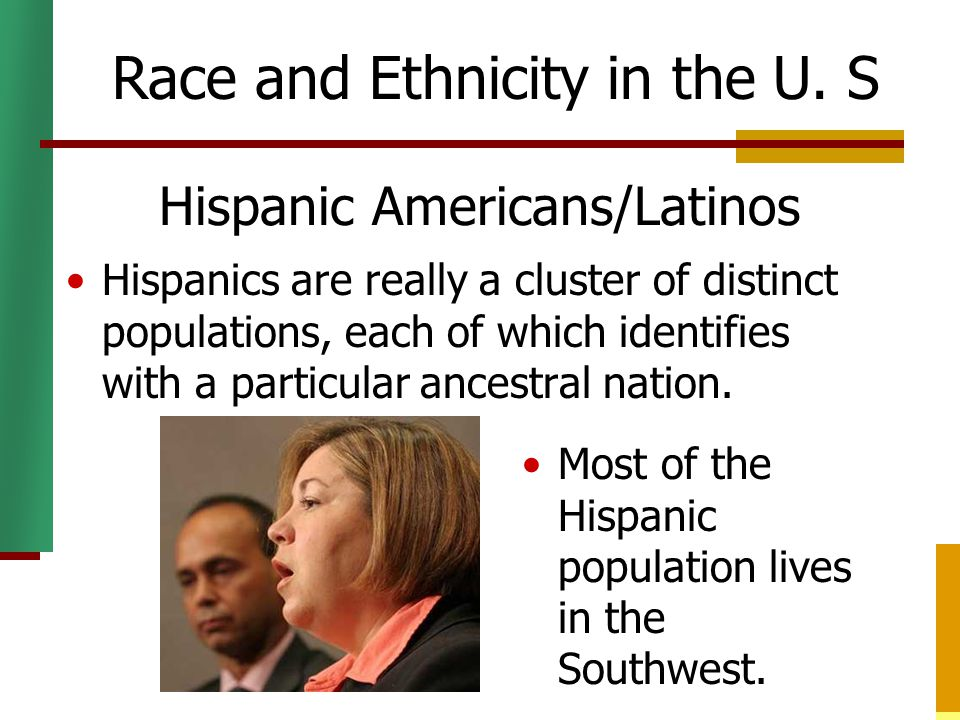 Hispanic Americans/Latinos Hispanics are really a cluster of distinct populations, each of which identifies with a particular ancestral nation. Race a