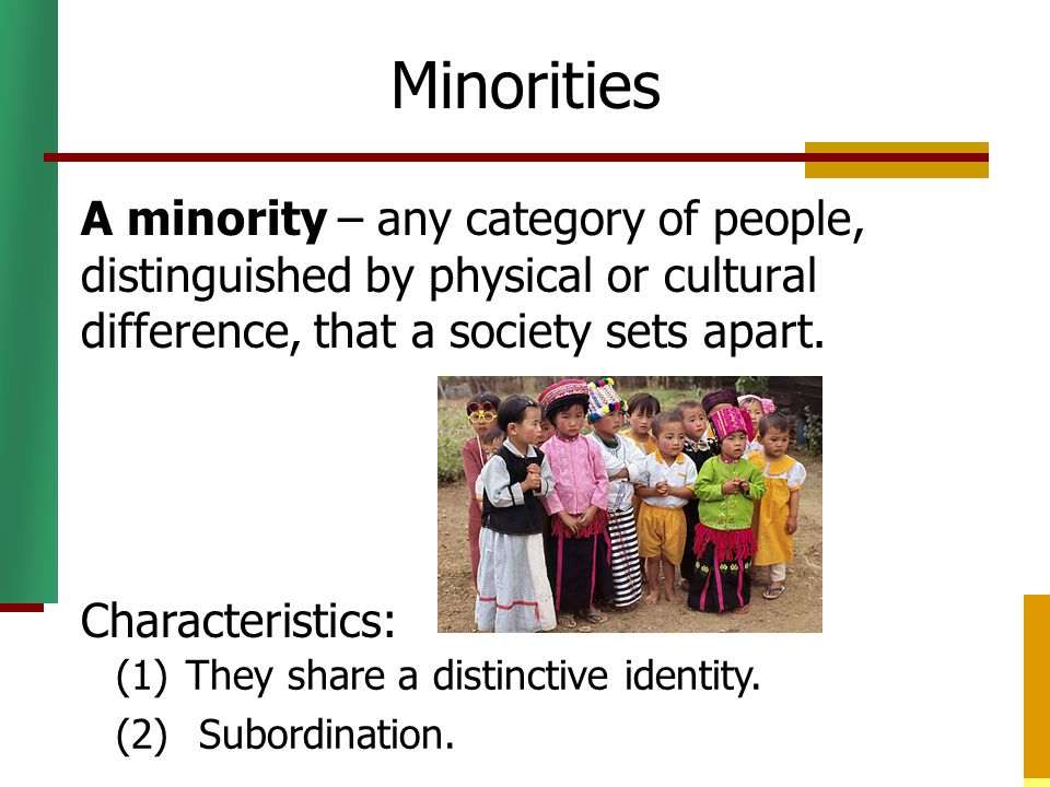 Discrimination Discrimination – treating various categories of people unequally.